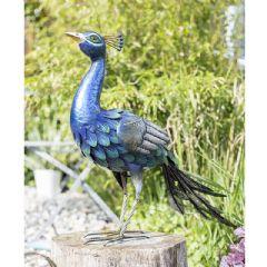 La Hacienda Steel Peacock Ornament - 68cm Height
