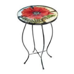 Gardman Glass Poppy 35cm Side Table