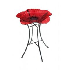 British Legion Decorative Glass Poppy Garden Bird Bath