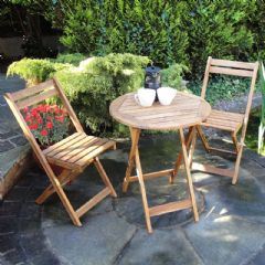 Rondeau Leisure Ketra Acacia 2 Folding Chair 60cm Circular Bistro Set