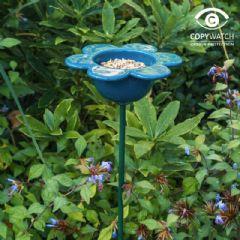 Image of Wildlife World Ceramic Petal Feeder - Blue - 71cm high