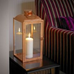 Copper Effect Candle Lantern
