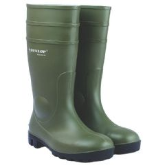 Image of Dunlop Protomaster Full Safety Wellington - Green - Size 8