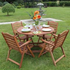 Greenfingers Wooden 4 Folding Armchair 116cm Round Table Dining Set