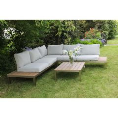 Ellister Teak Effect Metal Corner Lounge Set