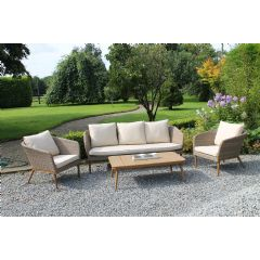 Ellister Rattan and Wooden 2 Armchair and Sofa Conversation Set
