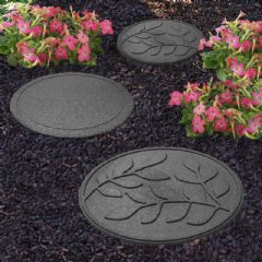 Greenfingers Recycled Rubber Leaf Stepping Stone - Slate Grey