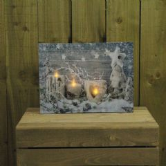 Image of Kingfisher Candle and Snow Canvas Print With Flickering LED