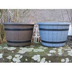 Image of Barrel Planter - 25cm - Stone Grey