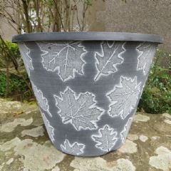 Image of Autumn Leaves Planter - Black with White Wash - 30cm