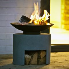Image of Ivyline Oval Firebowl & Oval Stand - Cement - 30cm
