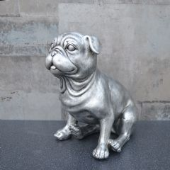 Image of Candlelight Sitting Pug - Antique Silver
