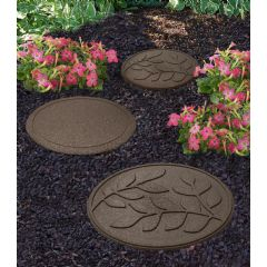 Image of Greenfingers Recycled Rubber Leaf Stepping Stone - Earth