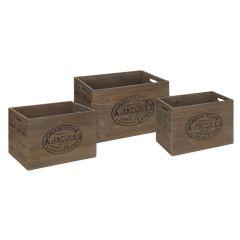 Image of Ellister Wooden Crate Set - Brown - 3pcs