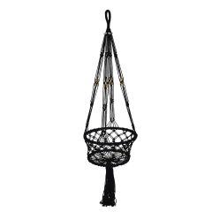 Image of Ellister Macrame Hanging Pot Holder - Black
