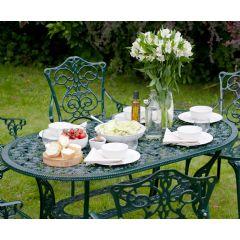 Garden Tables Ellister Stamford Ornate 140cm Dining Table - Dark Green