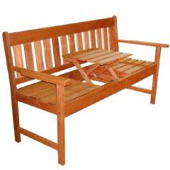 Greenfingers Loreto Balau Pop Up Table 3 Seater Bench - 150cm Width