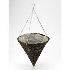 Apollo Willow Hanging Cone Basket 14in