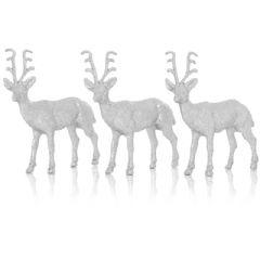 Premier Silver Glitter Reindeer 14cm - 3 Pack