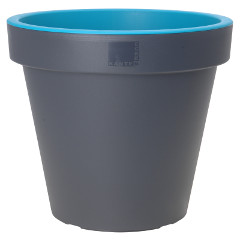 Greenfingers Grey Flowerpot with Coloured Lip