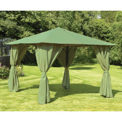 Glendale Steel Gazebo with Side Curtains 3m - Sage