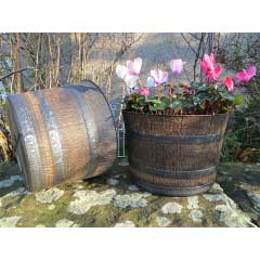 Whisky Barrel Planter 12.5in - Dark Brown with Silver Bands
