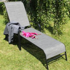 Ellister Steel and Polyweave Sun Lounger