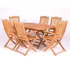 Cadiz FSC Acacia 6 Seater Rectangular Garden Furniture Set - 150cm
