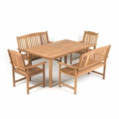 Greenfingers Loreto Grand Royal Balau 6 Seater 150cm Rectangular Dining Set