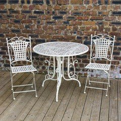 Ellister Mercia Iron 2 Folding Chairs 90cm Circular Patio Set