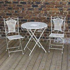 Greenfingers Mercia Iron 2 Folding Chairs 73cm Circular Patio Set