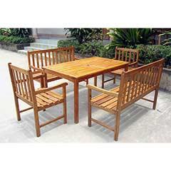 Ellister Portland FSC Acacia 6 Seater 140cm Rectangular Table Set