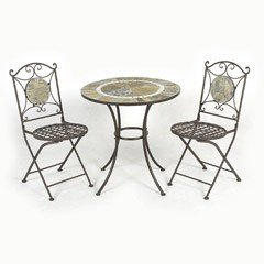 Ellister Amadora Iron 2 Folding Chairs 70cm Circular Patio Set