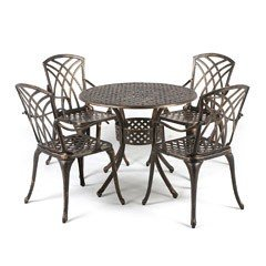 Greenfingers Stamford Cast Aluminium 4 Armchair 85cm Round Outdoor Set