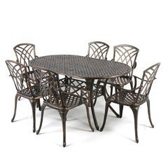Greenfingers Stamford Aluminium 6 Armchair 150cm oval Patio Set - Bronze