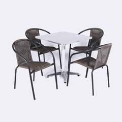 Greenfingers Kensington 4 Armchair 70cm Square Bistro Set
