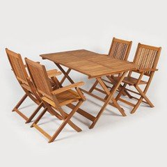 Ellister Portland FSC Acacia 4 Folding Armchair 120cm Rectangular Patio Set
