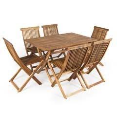 Greenfingers Hawaii FSC Acacia 6 Folding Chair 120cm Rectangular Dining Set