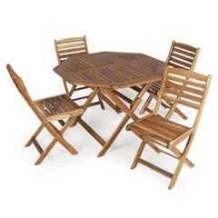 Greenfingers Hawaii FSC Acacia 4 Folding Chair 110cm Octagonal Folding Patio Set