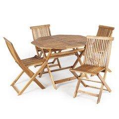 Greenfingers Alnwick FSC Acacia 4 Folding Chair Octagonal Folding Set