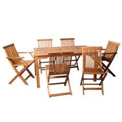 Ellister Alnwick FSC Acacia 4 Folding Chair 2 Folding Armchair 140cm Rectangular Dining Set