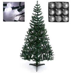 5ft Cedar Tree with White Lights and Silver Baubles