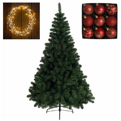 5ft Imperial Pine Tree with Warm White Lights and Red Baubles