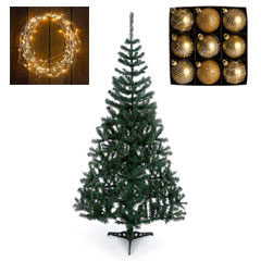 6ft Cedar tree with Warm White Lights and Gold Baubles