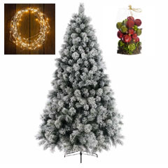 6ft Snowy Pine Tree with Warm White Lights and Red-Green Bauble Selection
