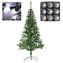 7ft Fir Tree with Warm White Lights and Silver Baubles