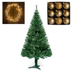 7ft Cedar Tree with Warm White Lights and Gold Baubles