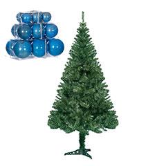 7ft Cedar Fir Tree with Powder Blue Gloss Baubles