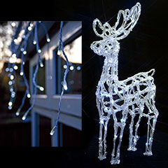 Outdoor Reindeer with LED Snowing Icicles