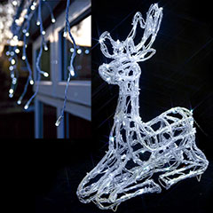 Outdoor Sitting Reindeer with LED Snowing Icicles